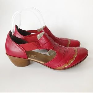 Rieker Antistress Red Leather Heeled Shoe 39